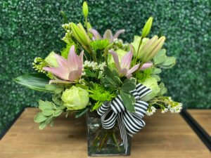 Playful Pinks and Greens Spring Mix in Nederland, TX | Sparkle and Co. Florist