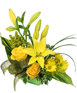 Playful Yellow Flower Arrangement in Hamilton, TX | Burlap Rose Florist And Antiques