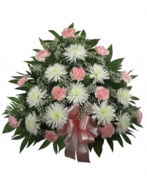 Pleasant Pink and White Funeral Tribute Funeral Container