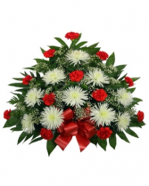 Pleasant  Red and White Funeral Tribute Funeral Container