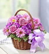 Pleasantly Purple Basket *basket of purple/lavender flowers