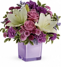 Pleasing Purple Bouquet Cube Vase Arrangement