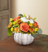 Plentiful Pumpkin White Ceramic Pumpkin Arrangement