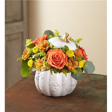 Plentiful White Pumpkin Floral Arrangement