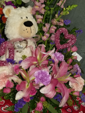 Plush bear and flowers arrangement and bear