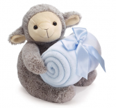 Plush lamb with blue blanket