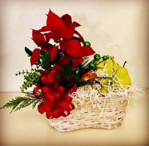 Poinsetta and Fruit Christmas Arrangement in Plainview, TX | Kan Del's Floral, Candles & Gifts