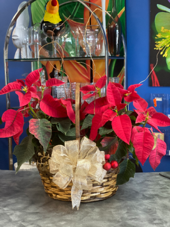 Poinsettia Christmas Basket