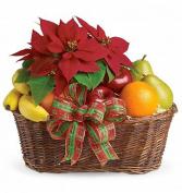 Poinsettia Fruit Basket Holiday Gift