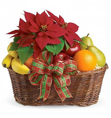 Poinsettia Fruit Basket Holiday Gift