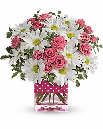 Poka Dots and Posies by Rose Bowl Florists Table Arrangement