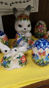 Polish Pottery  Hugging Bunnies Easter Gift