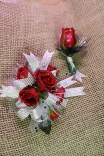 Polished Red Corsage and Boutonniere