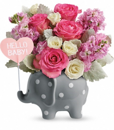 polka dot elephant with pink flowers new baby