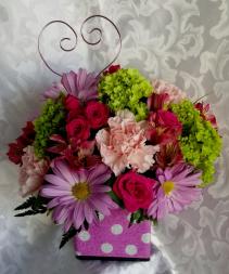 Polka Dot Posies Fresh Cube with Mini Roses