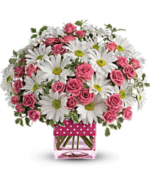 Polka Dots and Posies Bouquet Cube Teleflora