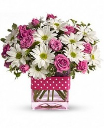 Polka Dots and Posies  glass cube vase