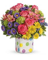 PolkaDot Bouquet Flower Arrangement