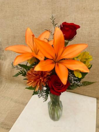 Pop of Autumn Fresh Vase Arrangement
