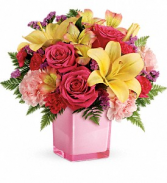 Pop of Fun Bouquet Cube Vase Arrangement