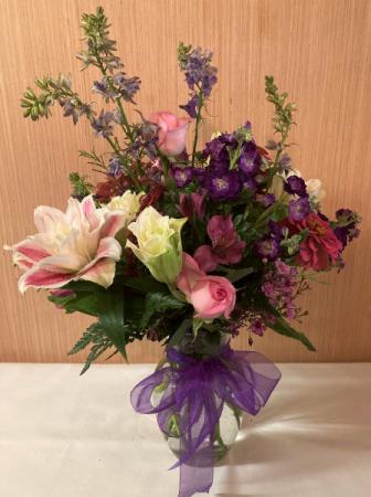 Pop of Purple Vase Arrangement