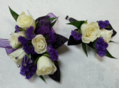 Pop of Purple Wrist corsage and boutonniere