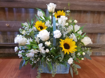Pop of Sunflower Basket Basket with shades of white and sunflowers