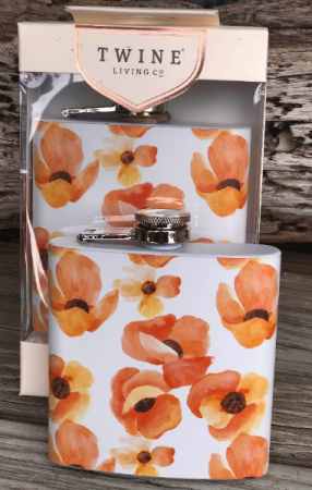 Poppy Floral Flask by Twine Living 6 oz Flask in Key West, FL | Petals & Vines