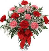 Pop's carnations arranged Only at Mom & Pop Flower Shop