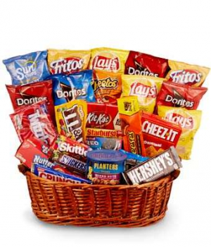 Pop's Chips, Candy & More Gift Basket Only at Mom & Pops Flower Shop in Ventura, CA | Mom And Pop Flower Shop