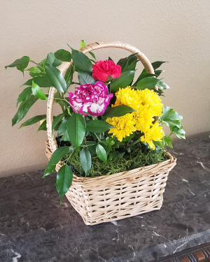 Pop's Garden Basket with Cut Flowers Exclusively at Mom & Pops in Ventura, CA | Mom And Pop Flower Shop