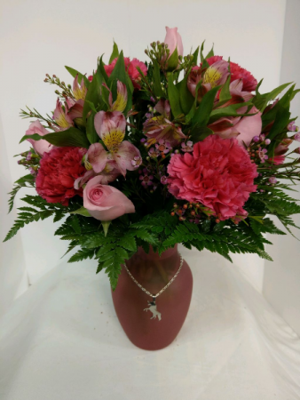 Pops of Pink (with Pendant) Vase Arrangement