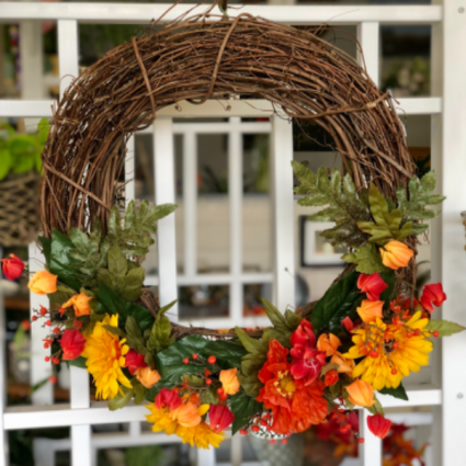 Pops of Poppies Silk Floral Wreath