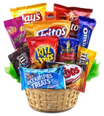 Pop's Snack Attack Basket Only at Mom & Pops Flower Shop