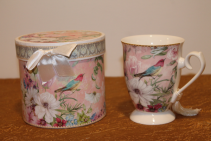 Porcelain Gift Boxed Tea Cup -Bird Floral