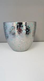 Porcln Pot 7x7.5 Slvr Aqua
