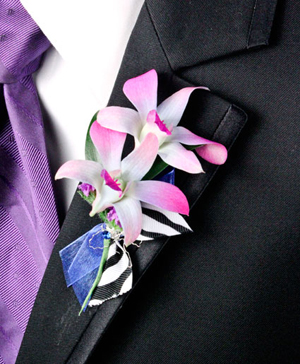POSH PURPLE ORCHIDS Prom Boutonniere in Dallas, TX | Paula's Everyday Petals & More