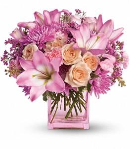 Possibly Pink Bouquet Cube Arrangement