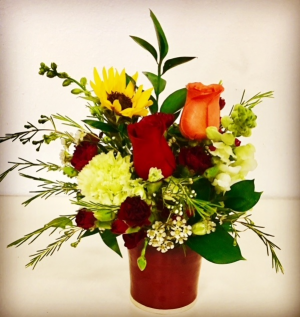 Pottery & Floral Arrangement Elegant Floral Designed in a Pottery Vase in Plainview, TX | Kan Del's Floral, Candles & Gifts