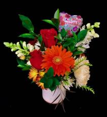 Happy Birthday Sweetie Pottery Vase Mixed Floral