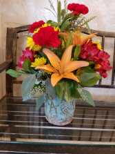 Pottery vase with Fall Mixed Flowers