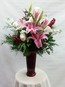 PP Christmas Roses and Lillies Red Vase