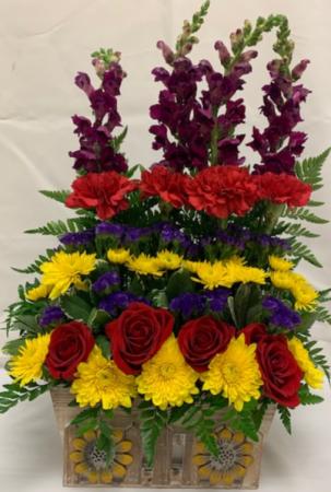 PPCFG Mixed Flowers in Sunflower Planter Box Fresh Arrangement