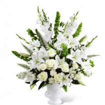 Prayers in White funeral arrangement