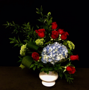 Prayers of Peace Red Rose with Blue Mix in Plainview, TX | Kan Del's Floral, Candles & Gifts
