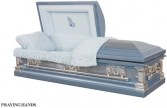 PRAYING HANDS CASKET Stainless Steel; Brushed Natural/Light Blue; Blue Velvet