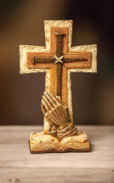 PRAYING HANDS TABLE CROSS