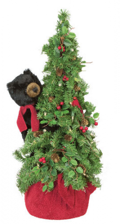 "24"" Pre-lit Black Bear  Artificial Table top Tree"
