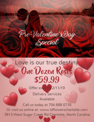 Pre-Valentine's Day Special  in Charlotte, NC | L & D FLOWERS OF ELEGANCE
