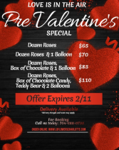 Pre-Valentine's Day Special One Dozen Roses w/One Balloon